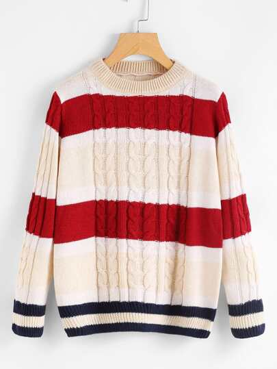 Contrast Stripe Trim Cable Knit Sweater
