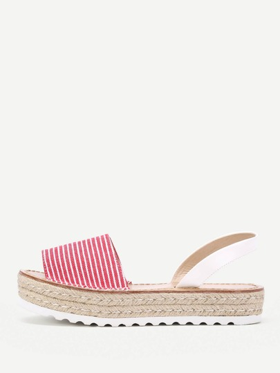Striped Print Slingback Flatform Wedges
