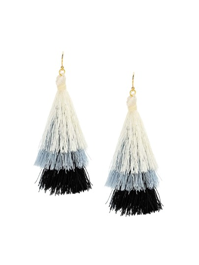 Color Block Tiered Tassel Drop Earrings