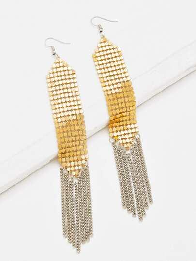 Sequin & Tassel Design Drop Earrings