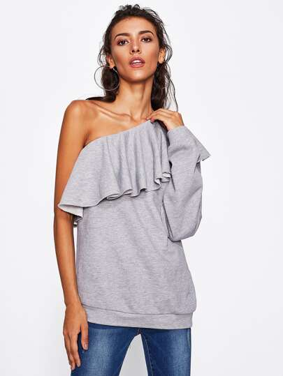 Flounce One Shoulder Heather Knit Sweatshirt