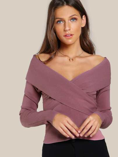 Off Shoulder Front Overlay Crop DUSTY MAUVE