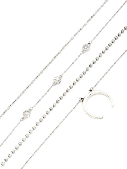Moon & Flower Design Chain Necklace Set 4pcs