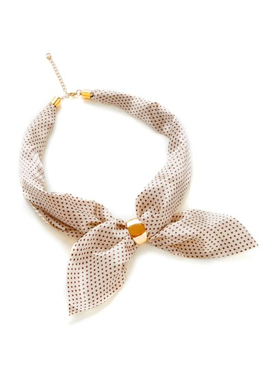 Polka Dot Print Neckerchief With Chain