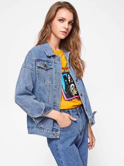 Jeans Jacke mit sehr tief angesetzter Schulterpartie
