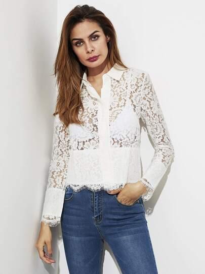 Scallop Trim Floral Eyelash Lace Shirt