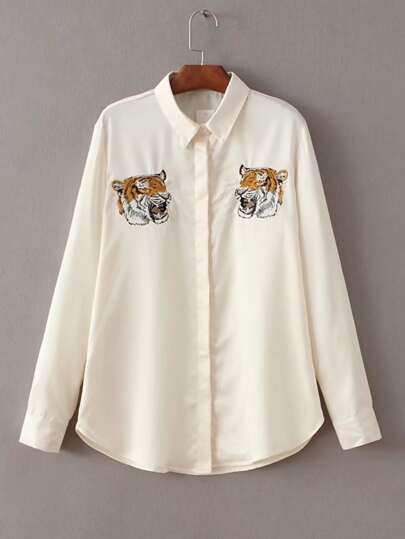 Tiger Embroidery Curved Hem Blouse