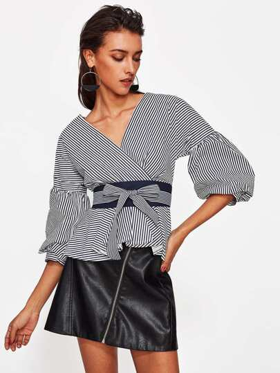 Lantern Sleeve Striped Wrap Blouse With Belt