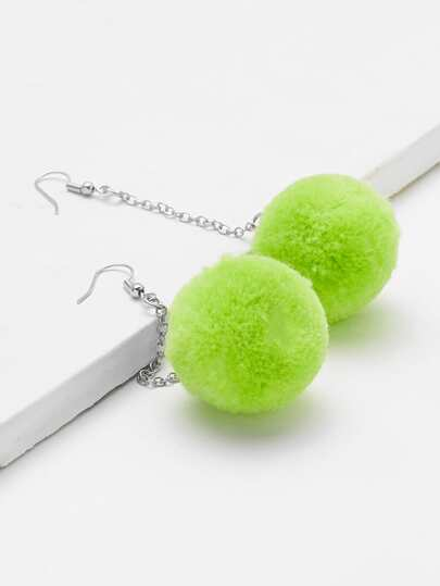 Pom Pom Design Long Drop Earrings