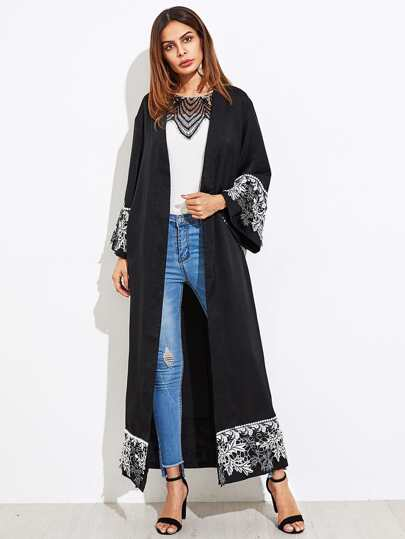 Lace Applique Cuff And Hem Abaya