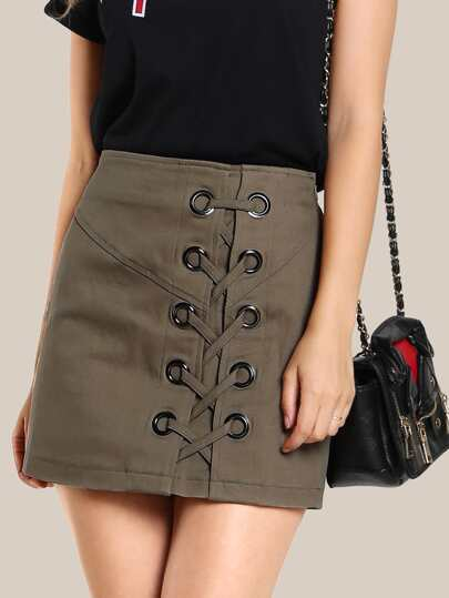 Lace Up Mini Skirt OLIVE