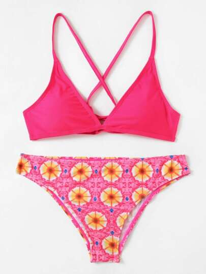 Graphic Print Cross Back Bikini Set