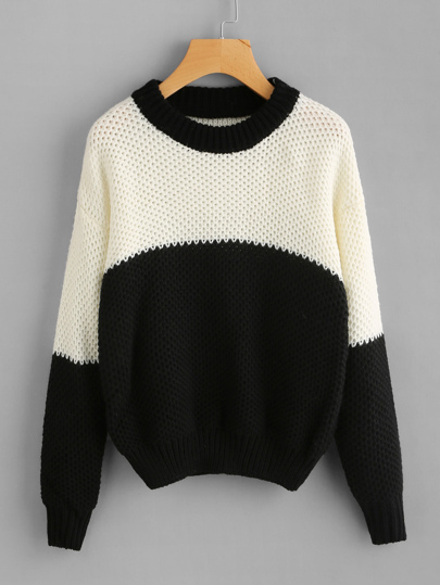 Two Tone Drop Shoulder Chunky Knit Sweater