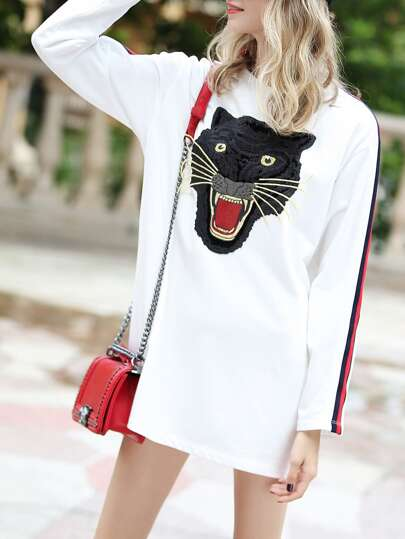 Tiger Embroidered Striped Dress