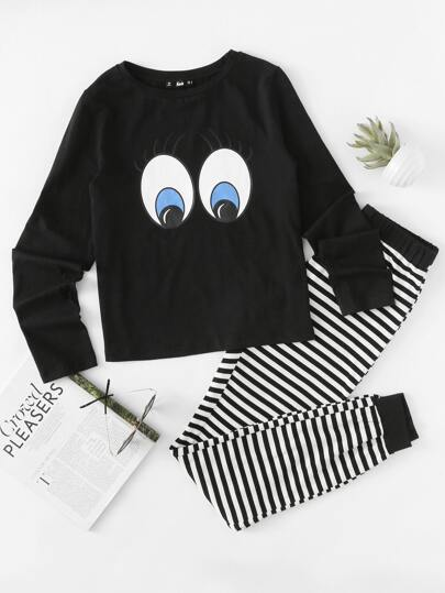 Eye Print Top And Striped Sweatpants Pajama Set