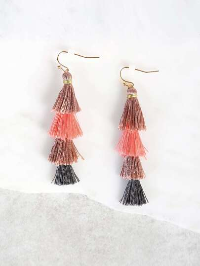 Fade Tassel Earrings GREY