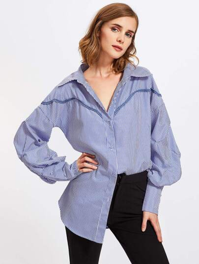 Drop Shoulder Lantern Sleeve Crochet Trim Striped Shirt