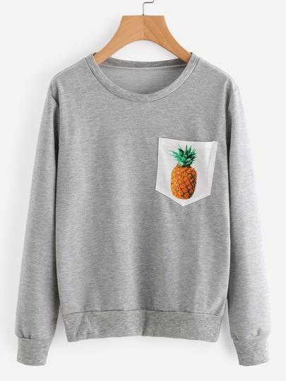 Contrast Pineapple Print Pocket Marled Sweatshirt