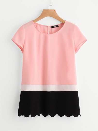 Scallop Hem Cut And Sew Top