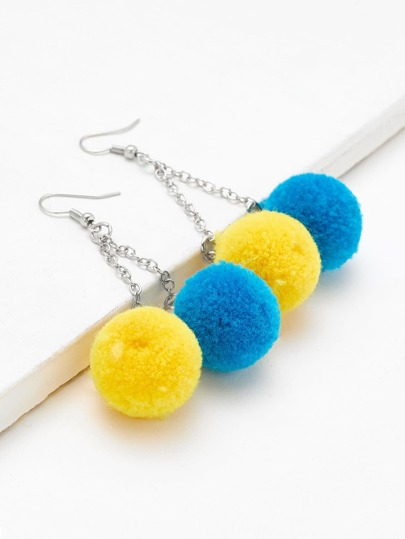Two Tone Pom Pom Design Drop Earrings