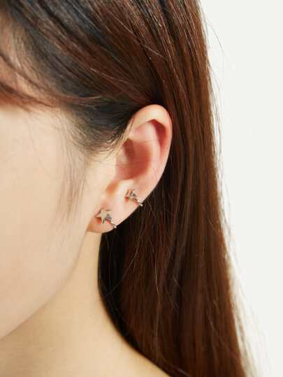 Double Star Design Ear Cuff 1pc