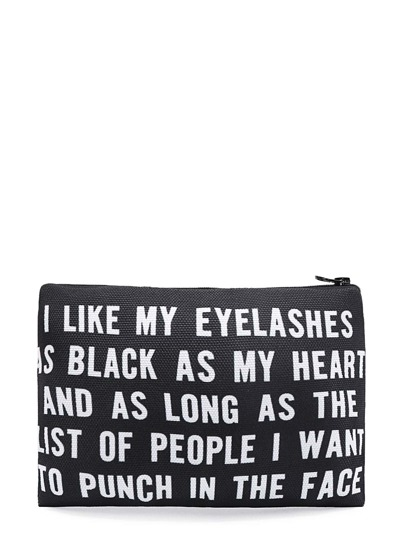 Slogan Print Zipper Makeup Bag