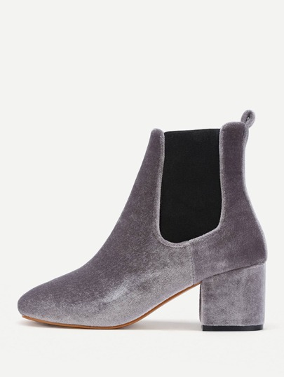 Two Tone Velvet Elastic Ankle Boots
