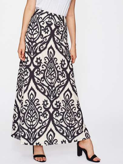 Damask Print Full Length Skirt
