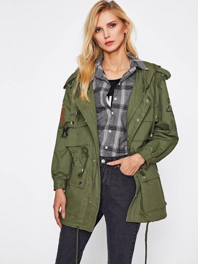 Embroidery Drawstring Military Jacket