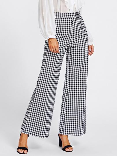 Pantalones de cuadros con pernera amplia