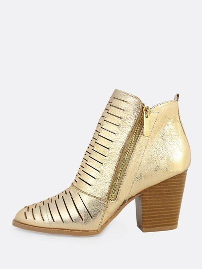 Metallic Slit Zip Up Booties GOLD