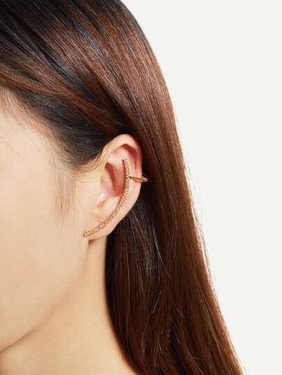 1 pieza de brazalete de oreja con detalle de pedrería