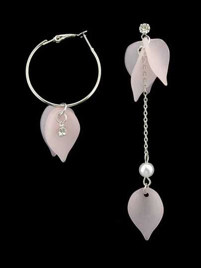 Pink Color Leaves Asymmetrical Exquisite Earrings