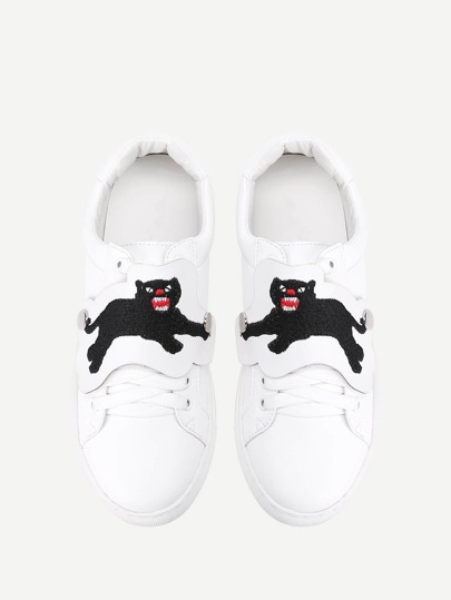 Bear Embroidery Low Top PU Sneakers
