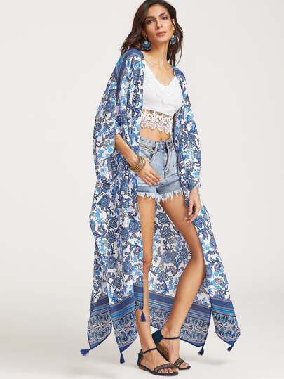 Flower Print Tassel Trim Longline Kimono
