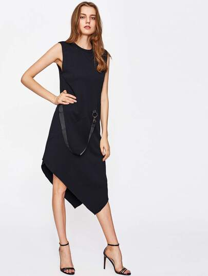 Asymmetrical Hem Sleeveless Dress With Ring Strap