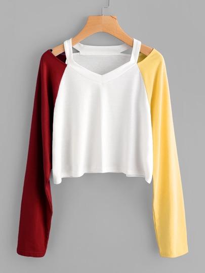 T-shirt con maniche a contrasto