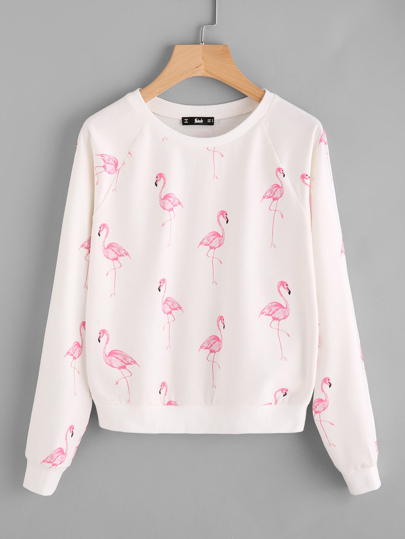 Sweat-shirt manche raglan imprimé des flamants