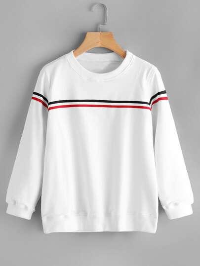 Sweat-shirt à rayures contrastées