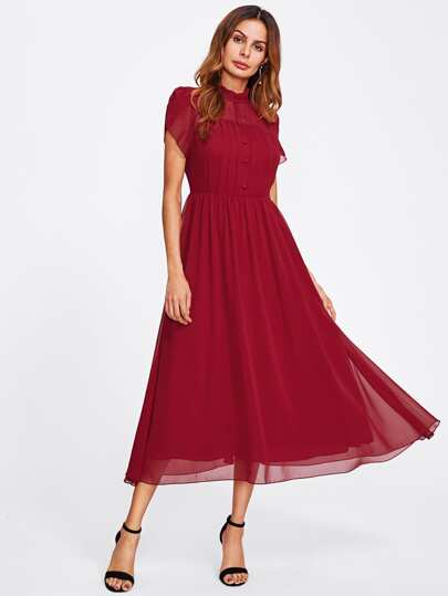 Half Placket Tulip Sleeve Fit & Flare Dress