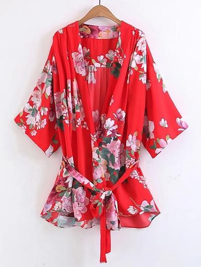 Floral Print Tie Waist Top