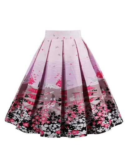 Graphic Print Box Pleated Skirt