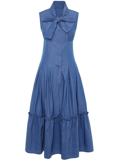 Bowknot Neck Flounce Denim Dress