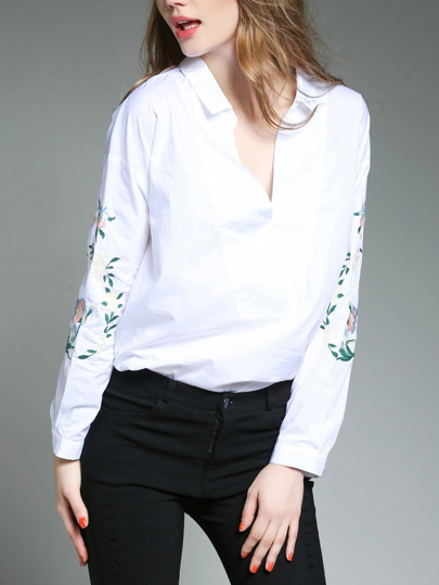 Embroidered Sleeve V Neckline Shirt