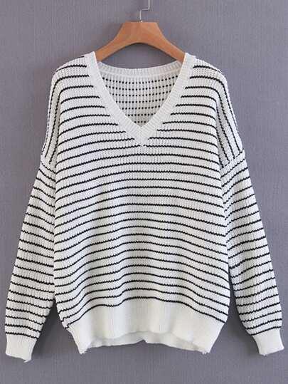 Contrast Striped Drop Shoulder Seam Sweater