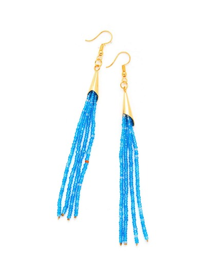 Beads Tassel Long Drop Earrings
