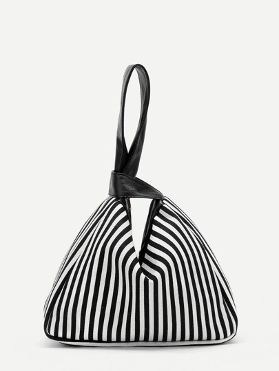 Vertical Striped Canvas Wristlet Clutch Bag