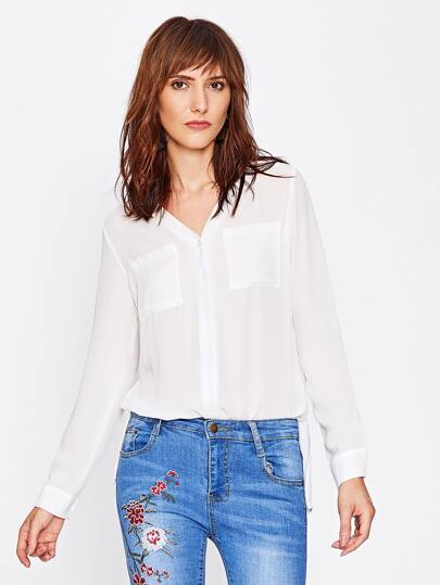 Slit Side Sheer Chiffon Blouse