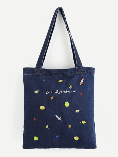 Embroidered Galaxy Denim Shopper Bag