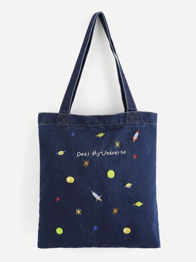 Einkaufstasche aus Denim mit Galaxis Stickerei